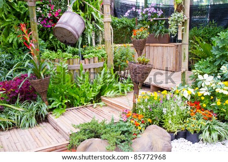 beautiful garden - home exterior - stock photo