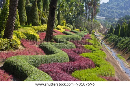 Beautiful garden in spring - stock photo