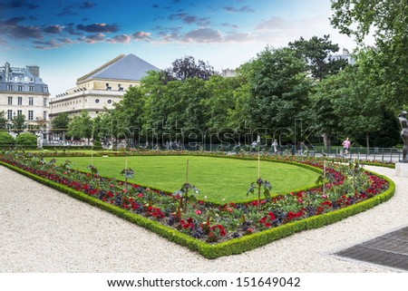 Beautiful garden inside Luxemburg Gardens, Paris.