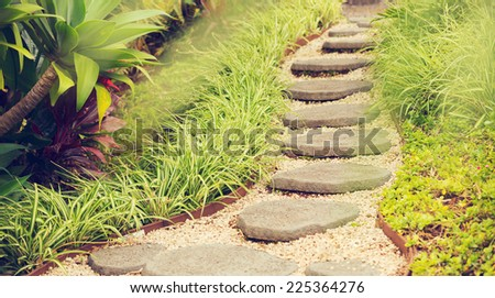 Beautiful Garden Path - stock photo