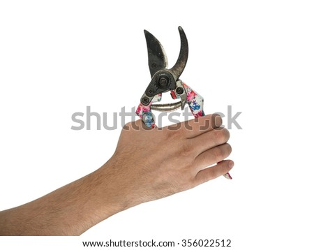 Beautiful garden secateurs in hand  isolated on a white background. - stock photo