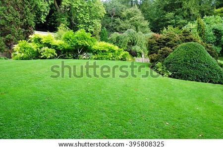 Beautiful Garden Freshly Mowed Lawn Stock Photo 395808325