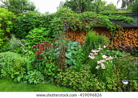 beautiful garden with flowers bushes and fire wood storage on the background