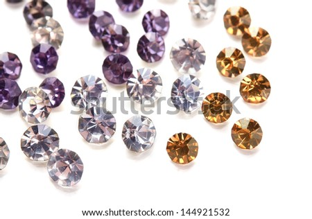 Beautiful gem stones, isolated on white - stock photo