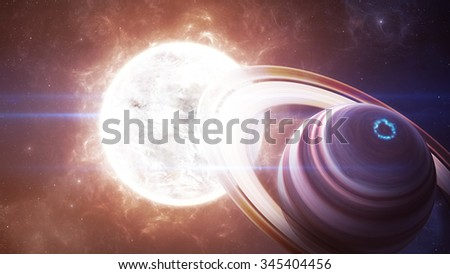 Beautiful giant planets in front of glowing star. Elements of this image furnished by NASA - stock photo