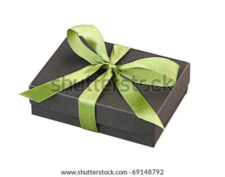 beautiful gift box tied with green ribbon isolated on white  - stock photo