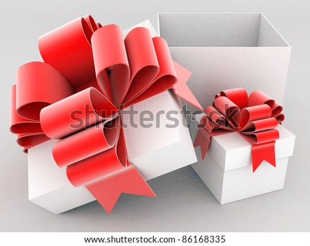 beautiful gift box with a bow and ribbons cranes