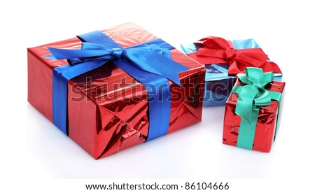 beautiful gifts isolated on white - stock photo