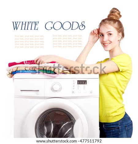 Beautiful girl and a washing machine isolated