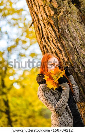Beautiful girl and bunch of maple leaves, romance in autumn