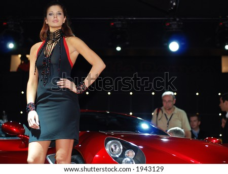 beautiful girl and car on Motor show, 2006