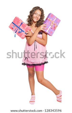 beautiful girl and gifts isolated on white