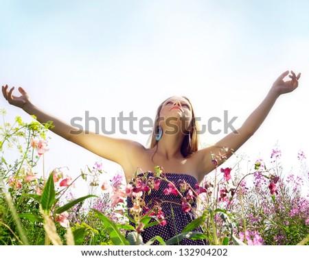 Beautiful girl and nature. - stock photo