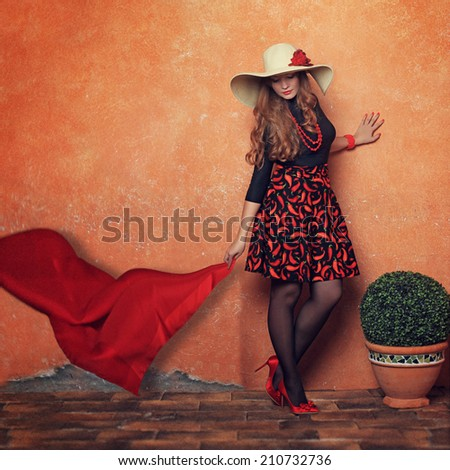 Beautiful girl and wind - stock photo