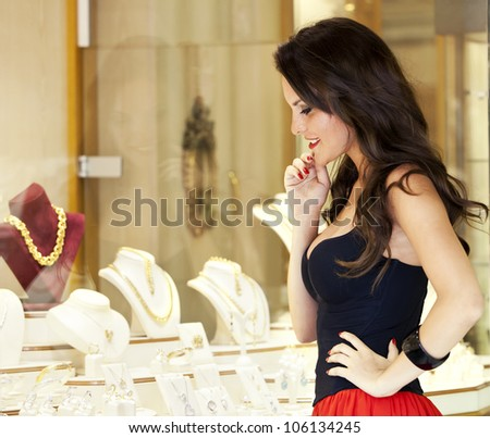 beautiful girl at a jewelry shop