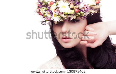 Beautiful  Girl . Beauty Woman Touching her Face. Perfect Soft Skin. Skincare concept. Professional Make-up. Makeup - stock photo