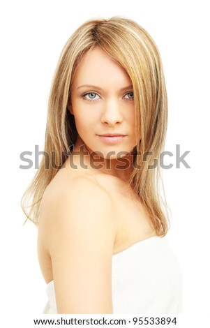 Beautiful girl, blond hair - isolated on white - stock photo
