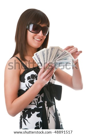 Beautiful girl count dollars isolated on a white background - stock photo