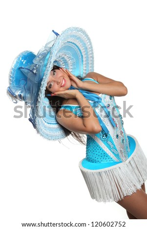 beautiful girl dancing in blue dancing costume with hat - stock photo