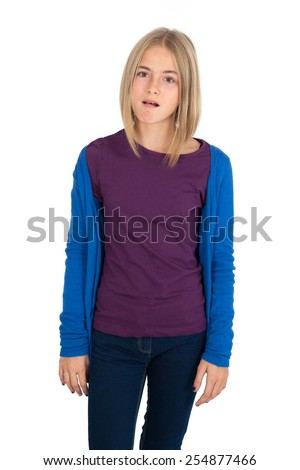 Beautiful girl doing different expressions in different sets of clothes: worried - stock photo