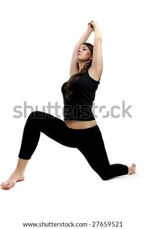 beautiful girl doing yoga exercise - stock photo