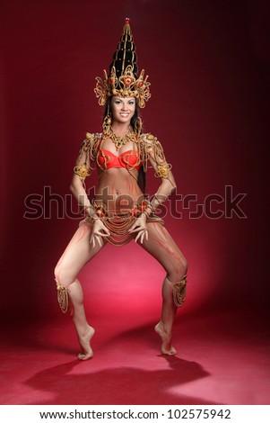 beautiful girl dressed as an Indian dancer - stock photo