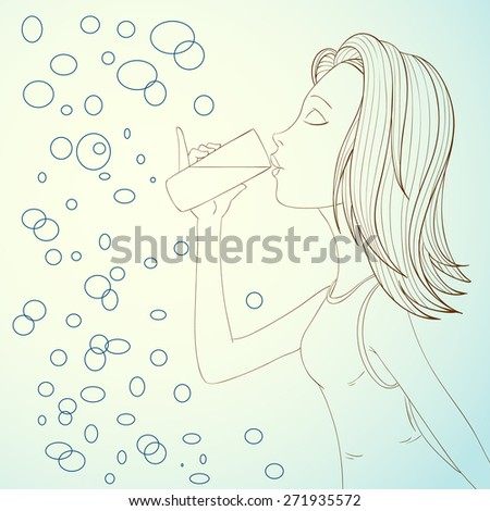 Beautiful girl drinking water on abstract bubbles background illustration. - stock photo