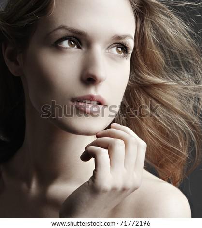 Beautiful Girl face.Perfect skin. - stock photo