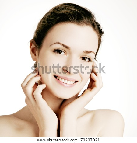 Beautiful Girl face.Perfect skin - stock photo