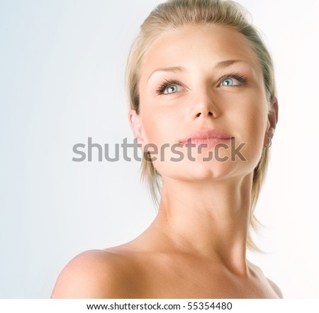 Beautiful Girl face.Perfect skin concept - stock photo