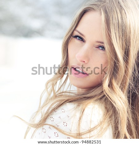 Beautiful Girl face. The perfect clear skin - stock photo