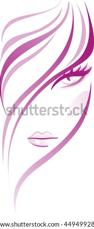 Beautiful girl face with healthy thick hair.  - stock photo