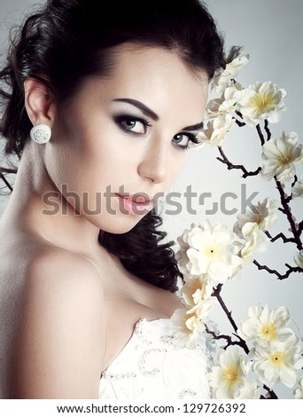 Beautiful Girl .Fresh skin. - stock photo
