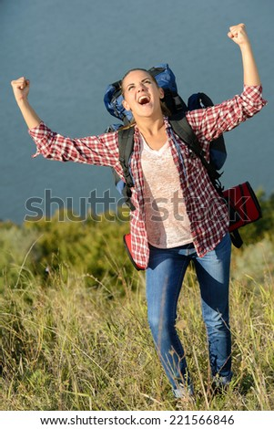 Beautiful girl hiking outdoors leading a healthy lifestyle - stock photo
