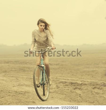 beautiful girl hipster bike - stock photo
