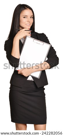 Beautiful girl holding a paper holder in the hand - stock photo