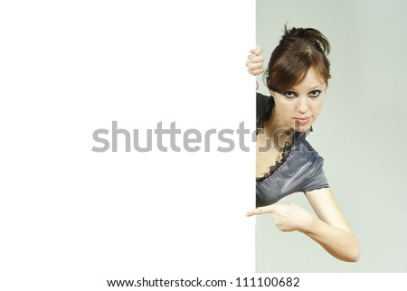 beautiful girl holding advertising stand - stock photo