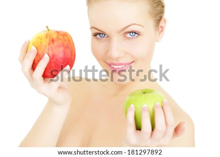 Beautiful girl holding apples isolated on a white background