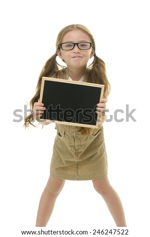 Beautiful girl holding blackboard on white background isolated - stock photo