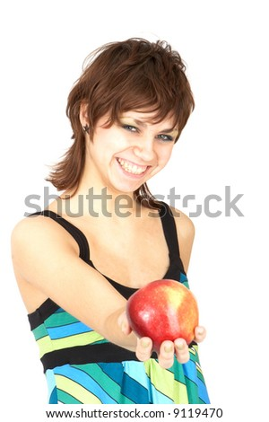 beautiful girl holding in a hand an apple - stock photo