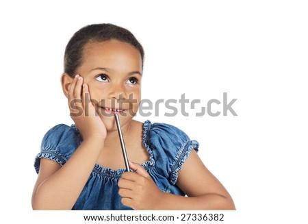 Beautiful girl imagining something isolated on white - stock photo