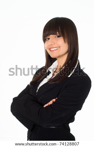 beautiful girl in a black business suit with a white background