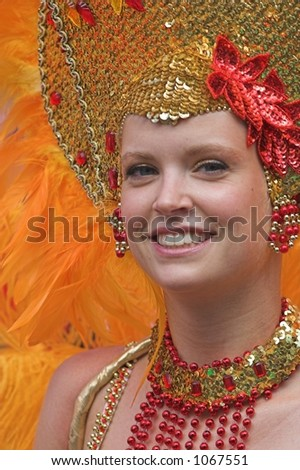 beautiful girl in a carnaval parade (Rotterdam, Netherlands, 2005)
