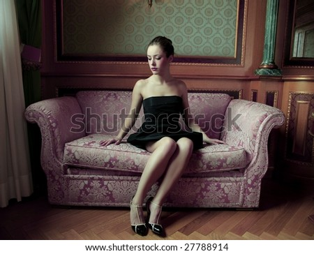 beautiful girl in a luxury hotel - stock photo