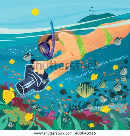 Beautiful girl in a swimsuit snorkeling and photographing coral reef on the camera in underwater housing. Split view  - Underwater photography concept. Raster version of illustration - stock photo