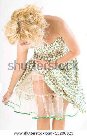 Beautiful girl in a wonderful dress - stock photo