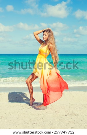 beautiful girl in amazing dress posing on the beach - stock photo