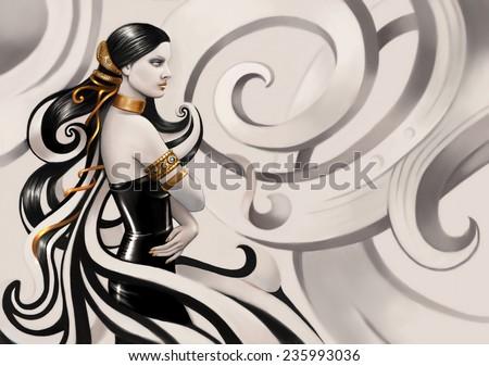 Beautiful girl in latex dress. Illustration. - stock photo