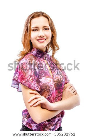 Beautiful girl in motley dress smiles, isolated on white background.