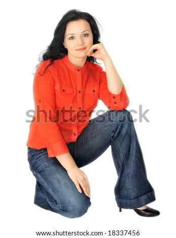 Beautiful girl in orange over white background - stock photo